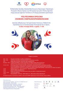 """Plakat """"Politechnika Opolska osobom z niepełnosprawnościami"""" - 10.05.2018 r."""
